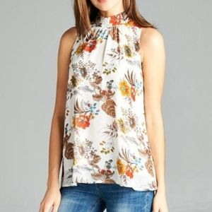 DNA Couture Ivory Floral Neck Tie Top